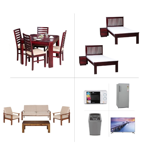 1BHK Furniture and Appliances with Single Beds